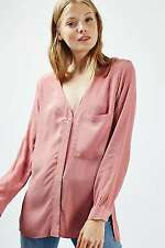Topshop Pink Blush Long Sleeve Slouchy Pocket Shirt Blouse UK 14 EUR 42 US 10