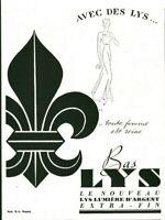 Publicité ancienne bas Lys 1937 issue de magazine