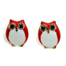 CUTE OWL EARRINGS Red Enamel Gold Plate HIGH QUALITY Post Pair Stud Bird NEW