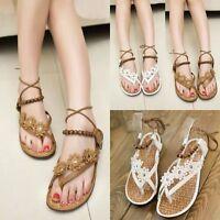 Womens Flat Toe Post Shoes Flip on Flops Ladies Boho Thongs Sandals SummerBeach