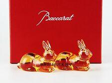 BACCARAT AMBER CRYSTAL SET 2 RABBIT CHOPSTICK RESTS BRAND NEW BOX FRANCE 2608006