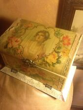 Vintage Decor Beautiful  Victorian Celluloid Woman Collar Glove Dresser Box
