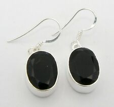 FACETED BLACK ONYX STONE 925 STERLING SILVER DROP DANGLE EARRINGS Length 1 1/4""