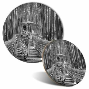 Mouse Mat & Coaster Set - BW - Bamboo Forest Japanese Woman  #42524