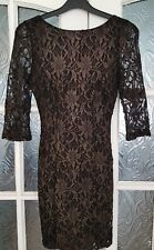 New Look Black/Gold Floral Lace effect Bodycon Dress 6