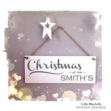 Hand Made Personalised Vintage Style Christmas Door Sign - Hanging Christmas