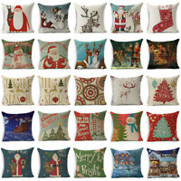"18"" Xmas Christmas Throw Pillow Case Cotton Linen Sofa Cushion Cover Home Decor"