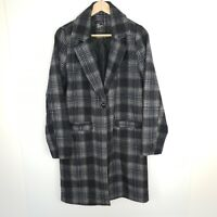 All About Eve Coat Jacket Women's Wool Blend Grey Check Plaid Pockets Size 10
