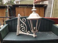 "ANTIQUE LARGE 23"" TALL 19"" BRACKET OUTSIDE ELECTRIC LANTERN LAMP CAST ALUMINUM"