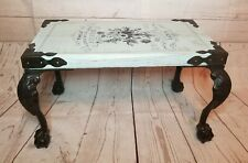 Modern Farmhouse teal bench stool rustic Country French style iron legs