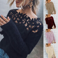 Women Fluffy Sweater Jumper Long Sleeve Casual Patchwork Pullover Blouse Tops