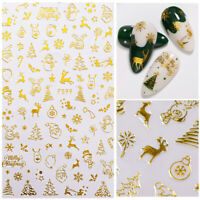 Christmas Gold 3D Nail Stickers Snowflake Nail Art DIY Decoration Decals