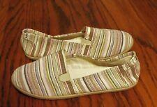 euc Air Walk Women sz 7.5 white brown pink slip on comfort shoes flats striped