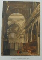 Antique lithograph print - St.Paul's cathedral - looking west - Leighton Bros