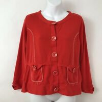 Anthropologie HWR Womens Cardigan Red Long Sleeves Buttons Pockets Sweater 12