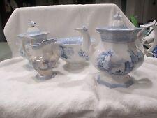 1840s Staffordshire Blue Transferware Davenport Ironstone Teaset Teapot 4pc bowl