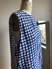 equipment sleeveless button back blouse polka dot blue white silk m