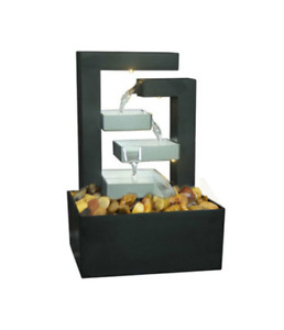Watsons Indoor Fountain  Modern Cascade Waterfall with LED Light and Pebbles