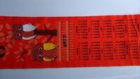 "Vintage 1977 Orange Felt 10"" x 35"" Hanging Calendar With Owls, FREE SHIPPING!"