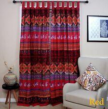 "Handmade Kalamkari Print Cotton Tab Top Curtain Drape Panel 44"" x 88"" - Red"