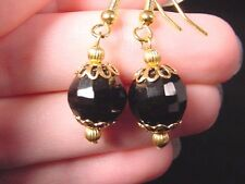 (EE-471-E) Black onyx Brazil gemstone one bead long gold dangle hook earrings