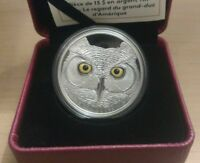 Pure Silver Glow-in-the-Dark Coin  In The Eyes Of The Great Horned Owl 2017 4890