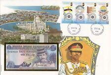 superbe enveloppe BRUNEI billet de banque 1 $ 1991 UNC NEUF + TIMBRES
