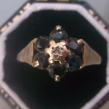 Women's Vintage 9ct Gold Quality Sapphire & Diamond Ring Size M Weight 1.66g