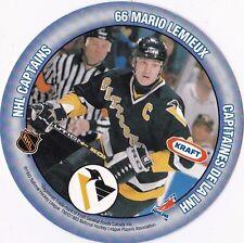 Mario Lemieux & Mark Messier 1993 Kraft Peanut Butter Hockey Disk Card