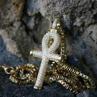 Mini Iced Cz Micro Pave Hip Hop Egyptian Ankh Cross Pendant Charm Necklace Set