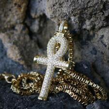 Men's Mini Hip Hop Gold Egyptian Ankh Cross Pendant Charm Necklace