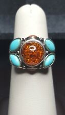 & Turquiose Ring Size 7 Vintage Sterling Silver 925 Amber