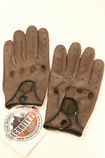 Brown Leather Full Finger Mens Motorcycle Driving Gloves size XL biker mittens
