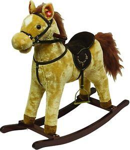 Childrens Traditional Rocking Horse & Sound Kids Girls Boys Toy Pony, Tan Brown
