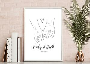Personalised Holding Hands Print   Wedding Gift   Engagement Gift   Anniversary