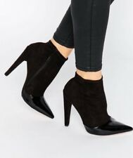 Little Mistress Women's Ladies Stretch Ankle Black Boots Zip Side UK Size 5