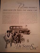 1929 Chrysler DeSoto Six Women Proclai the Ideal Car Original Print Ad