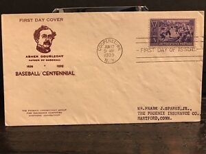 855 BASEBALL FDC COOPERSTOWN, NY PLANTY P46b HOLLAND CACHET