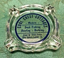 Vintage Cool Crest Cottages Ashtray Big Spirit Lake Ia. Fishing Boating Bathing