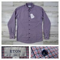 ETON Mens 16.5 42 Slim Fit Blue Checks Button Front Dress Shirt Large New NWT
