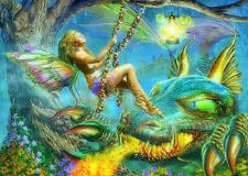 FANTASY Dragon & Diamante Ali D'Angelo dipinto KIT 30 x 40 cm come Cross Stitch