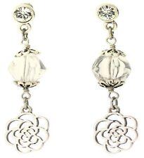 £25 Boho Art Nouveau Silver Rose Flower Drop Earrings Swarovski Elements Crystal
