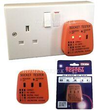 UK Mains Socket Tester 240v Polarity Test / 3 Pin Plug House Electrical Wiring