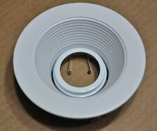"""4"""" INCH RECESSED CAN LIGHT WHITE STEPPED BAFFLE TRIM 12V MR16 REPLACE HALO 1493"""