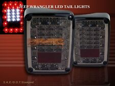 2007-2014 JEEP WRANGLER TAIL LIGHTS LED PARKING BRAKE REVERSE SMOKE NEW 10 11 12