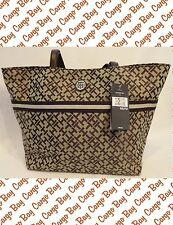 TOMMY HILFIGER CHOCOLATE BROWN LOGO FABRIC LARGE TOTE HANDBAG NEW CARGO BAY