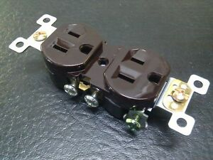 (10 pc) NEW 15A Standard Duplex Receptacles 15 Amp Brown Self Grounding Outlets