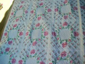 Vintage 113x96 King Needlepoint Handmade Handsewn Hand quilted Quilt Blanket