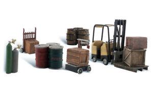 Woodland Scenics ~ N Scale ~ Loading Dock Details ~ Forklift & Barrels ~ A2208