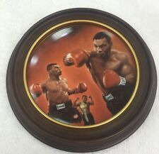 MIKE TYSON BOXER Boxing 1987 Celebrity Impressions Plate w Wooden Frame Display